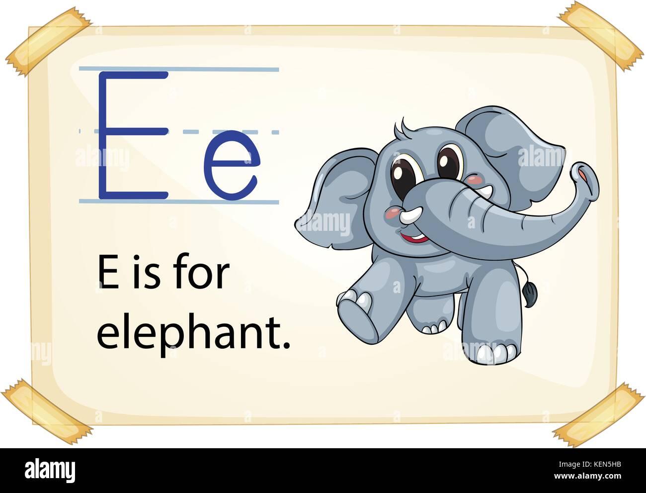 Illustration of e for elephant - Stock Vector