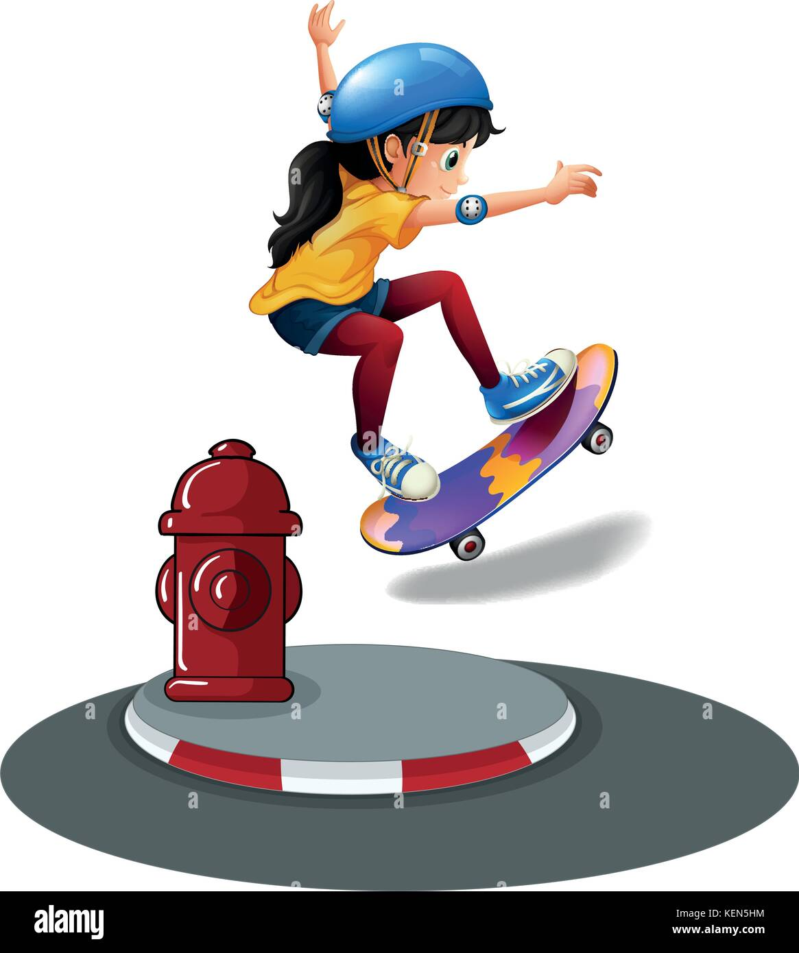 A young girl skating near the hydrant on a white background - Stock Vector
