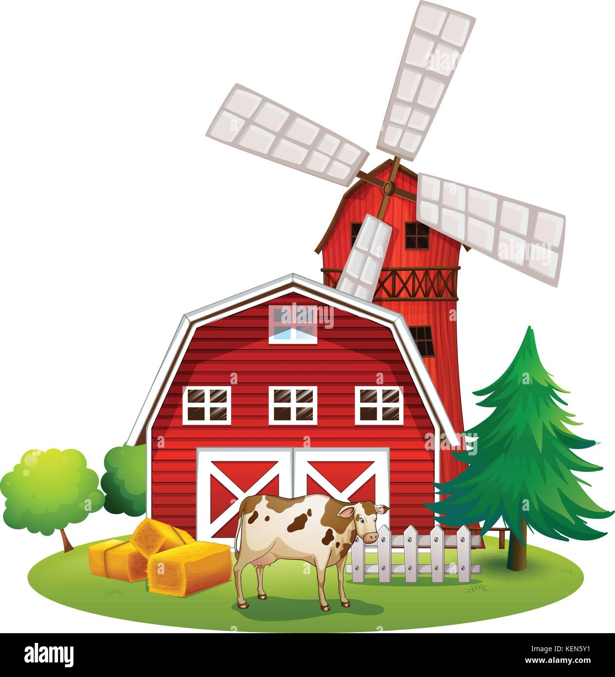 Illustration Of A Red Barnhouse At The Farm On White Background
