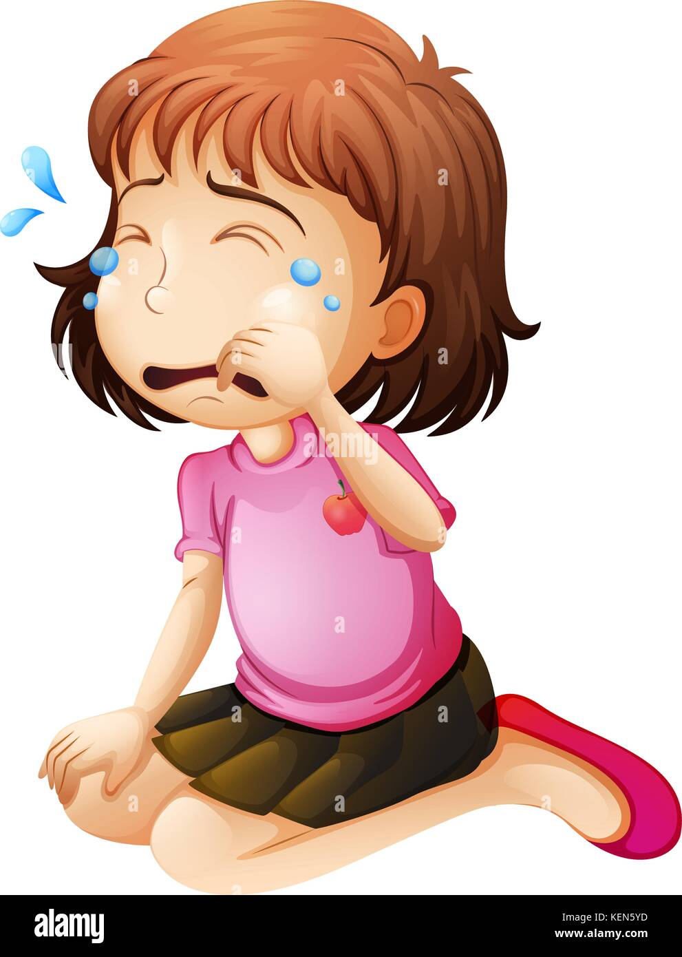 Illustration of a little girl crying on a white background - Stock Vector