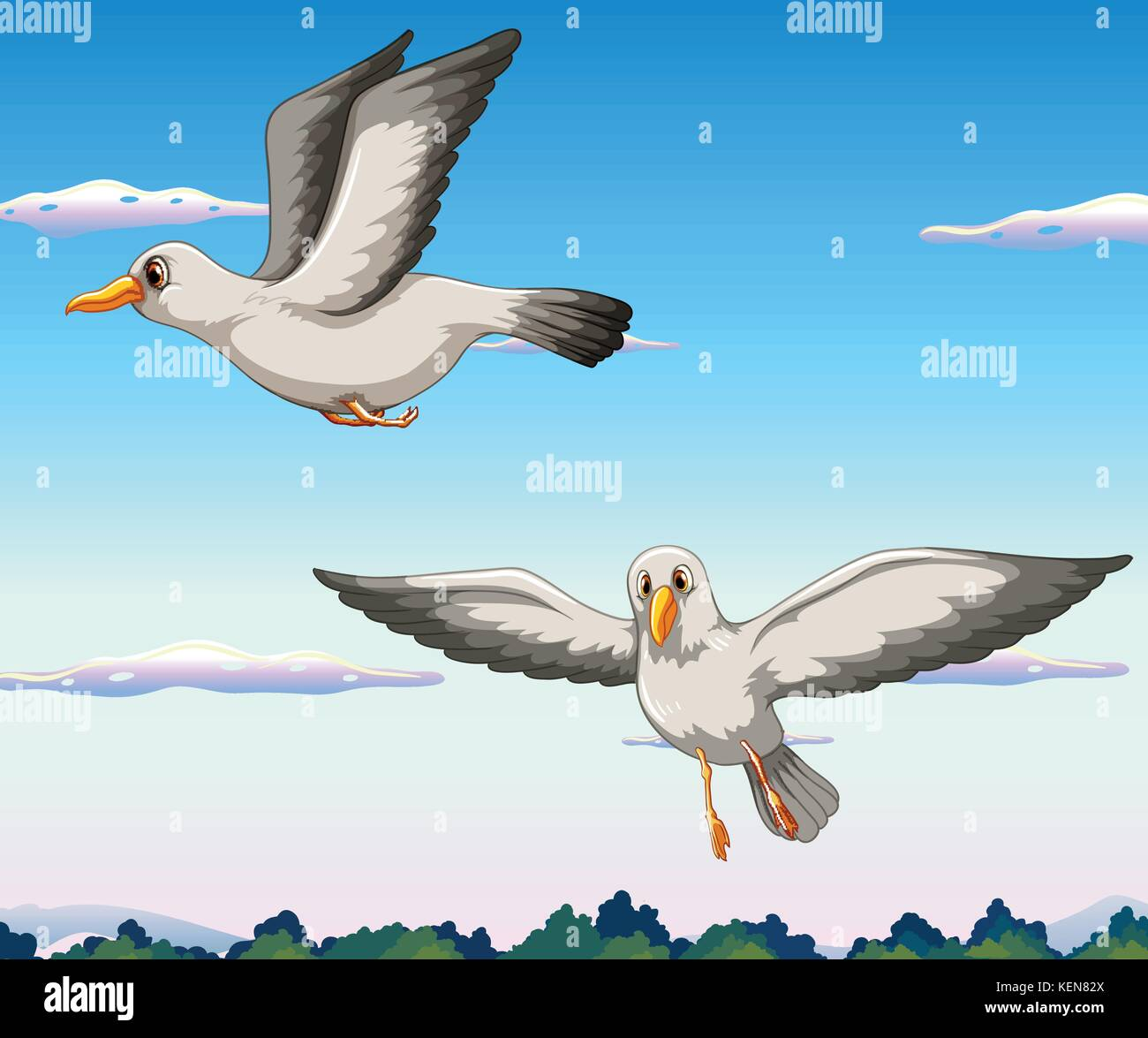 Two seagulls flying in the sky Stock Vector