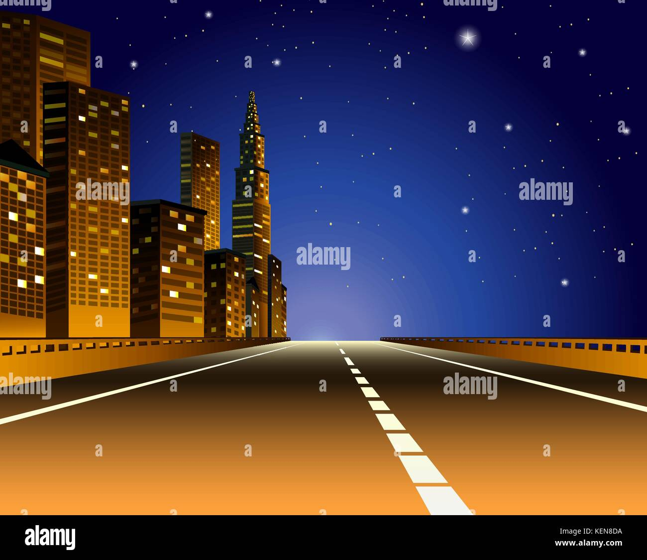 Illustration of a city view by the express way - Stock Vector
