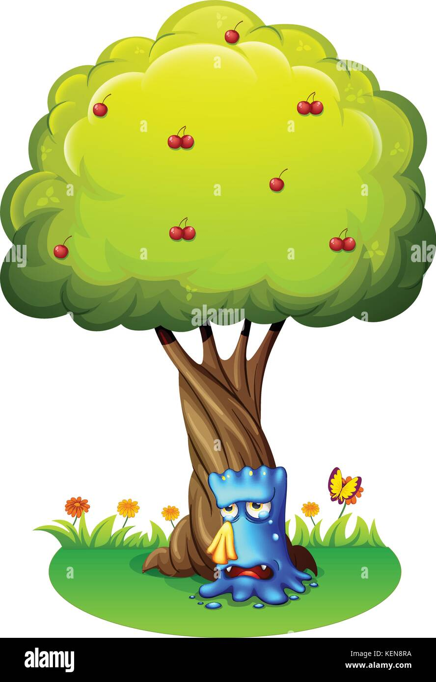 Illustration of a blue monster sobbing under the tree on a white background - Stock Vector