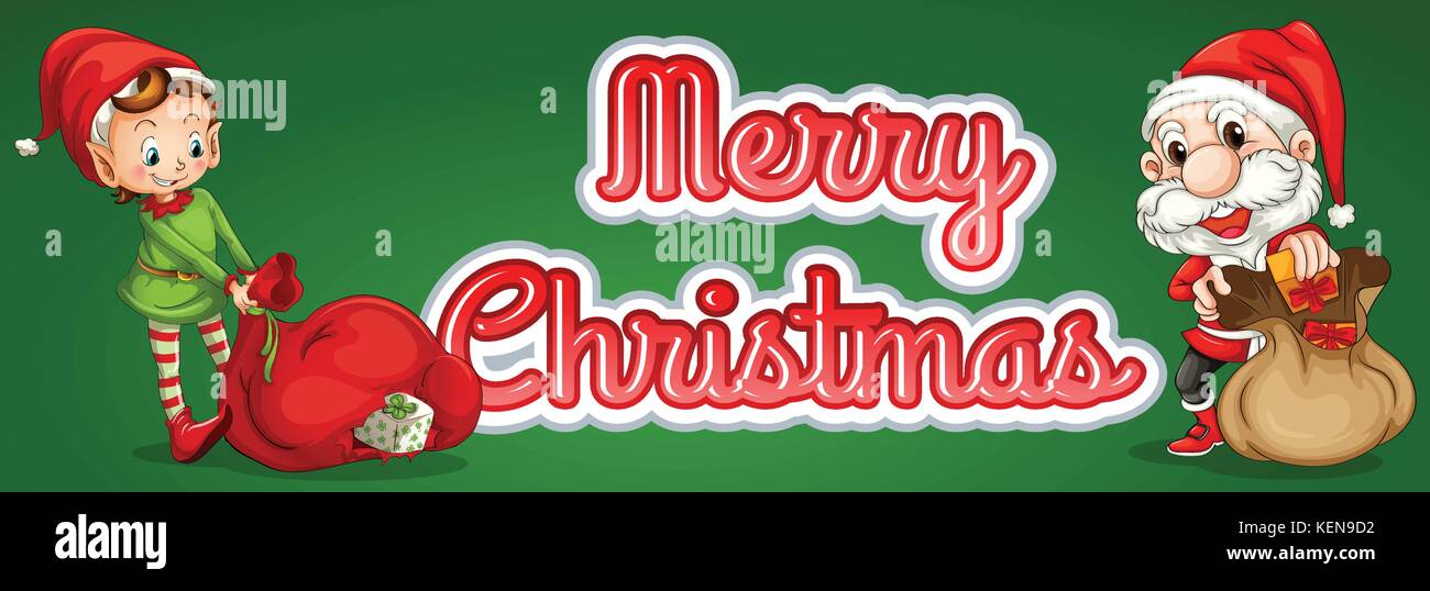 Merry Christmas theme sticker with elf and santa - Stock Vector