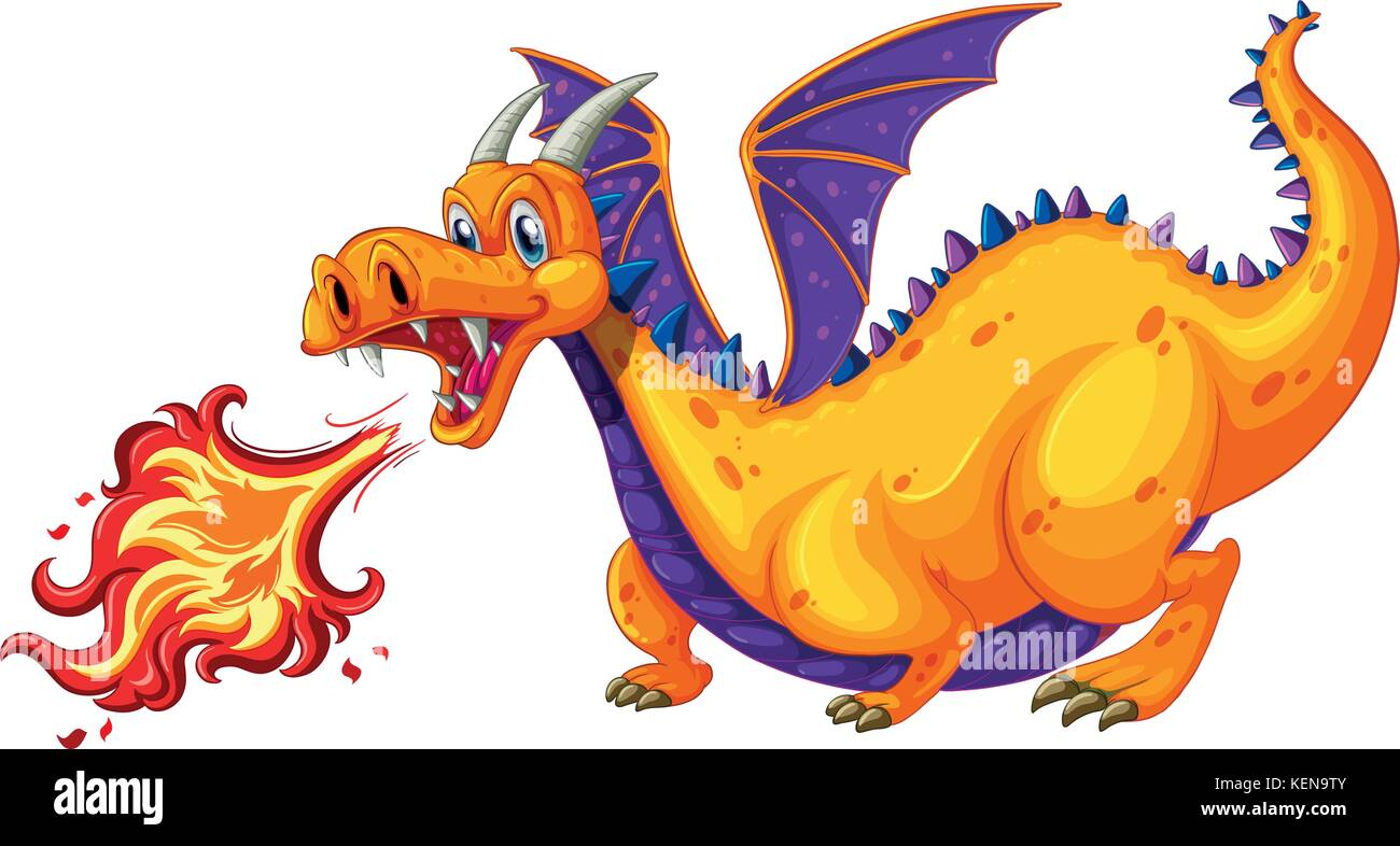 Illustration of a dragon blowing fire - Stock Vector