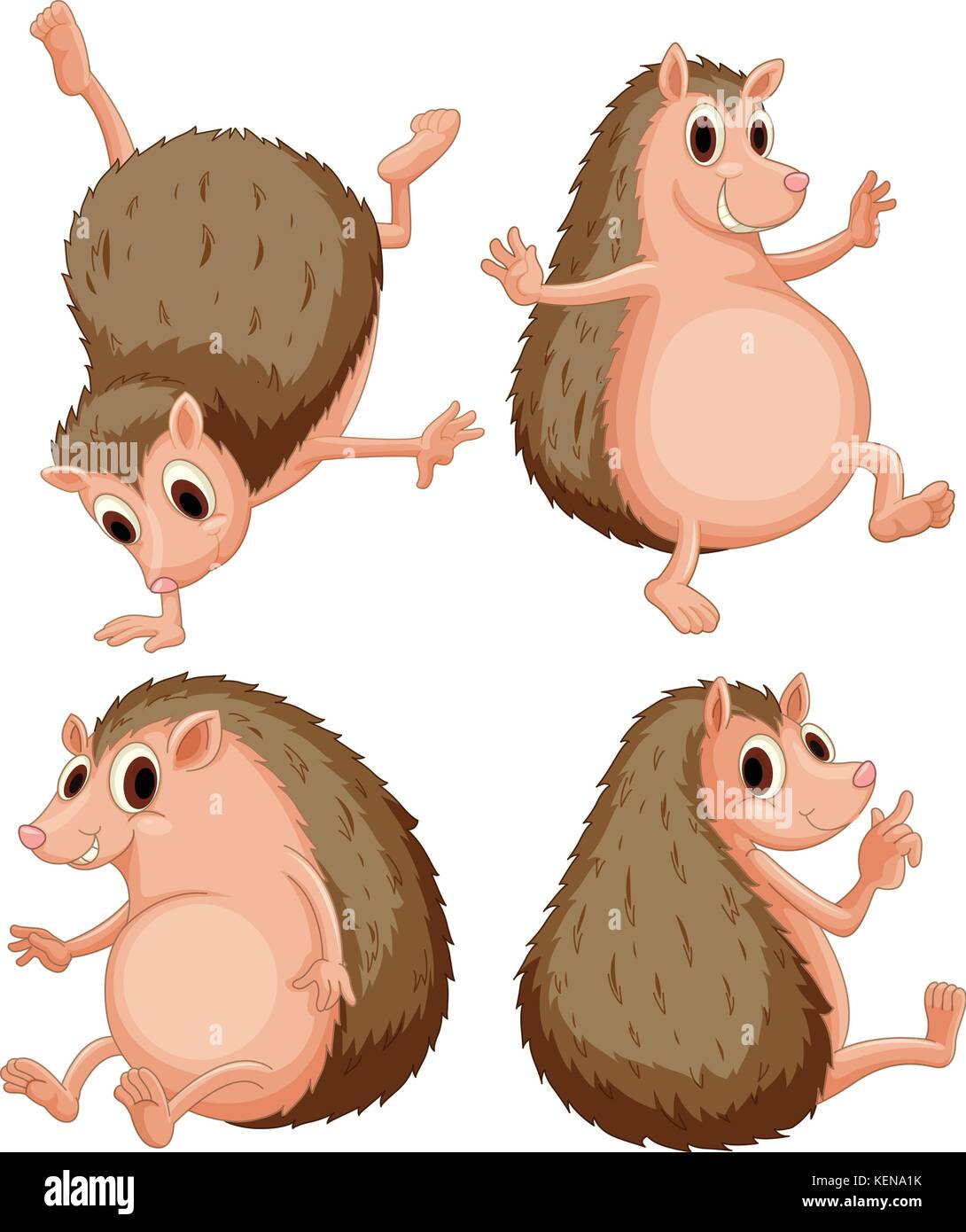 Illustration of a set of hedgehog - Stock Image