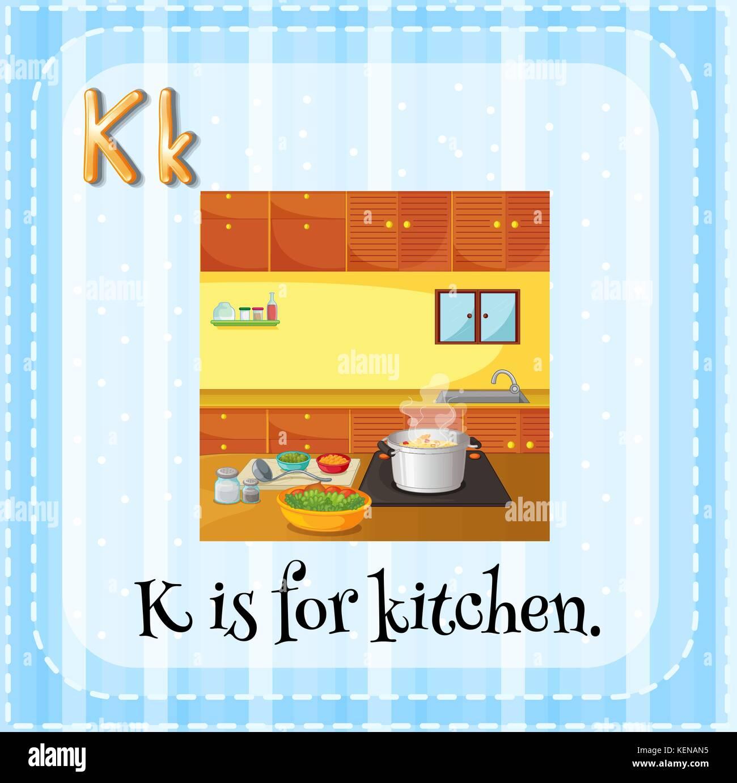 Illustration of an alphabet K is for kitchen Stock Vector Art ...