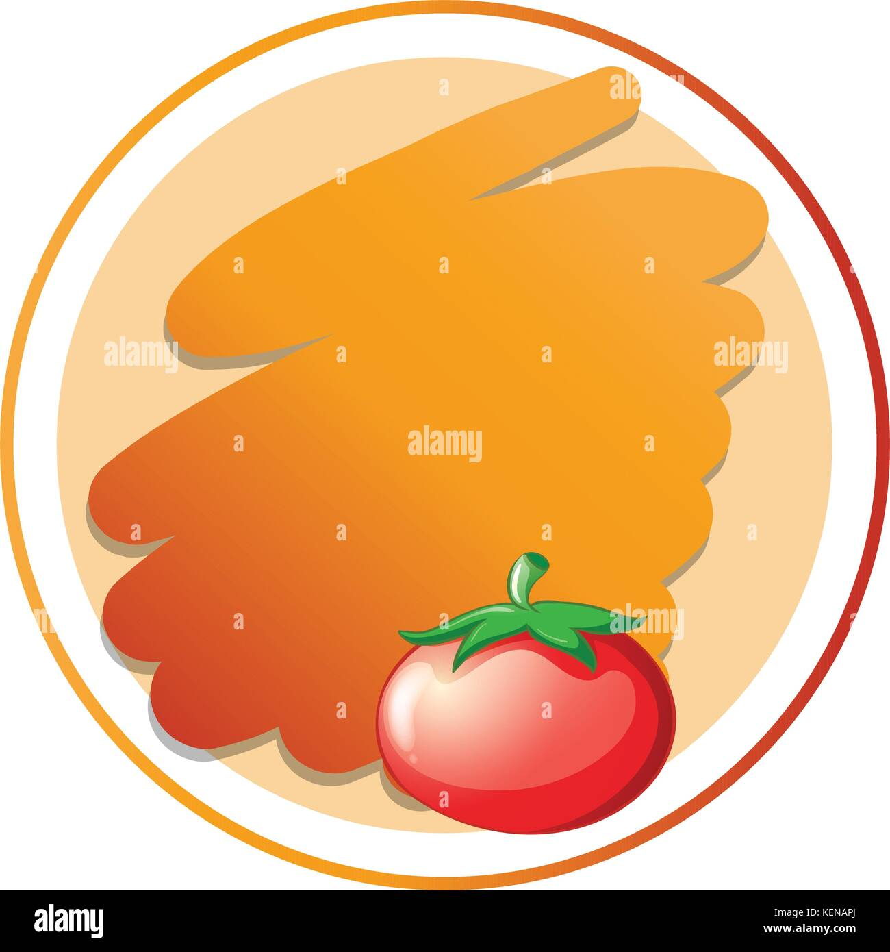 Illustration of a round orange template on a white background Stock ...