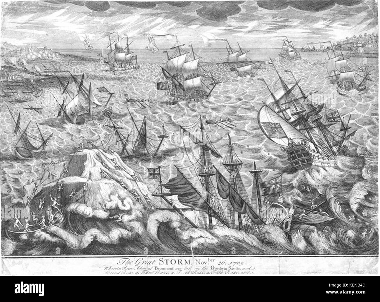 'The Great Storm Novber 26 1703 Wherein Rear Admiral Beaumont was lost on the Goodwin Sands... Beaumont's - Stock Image