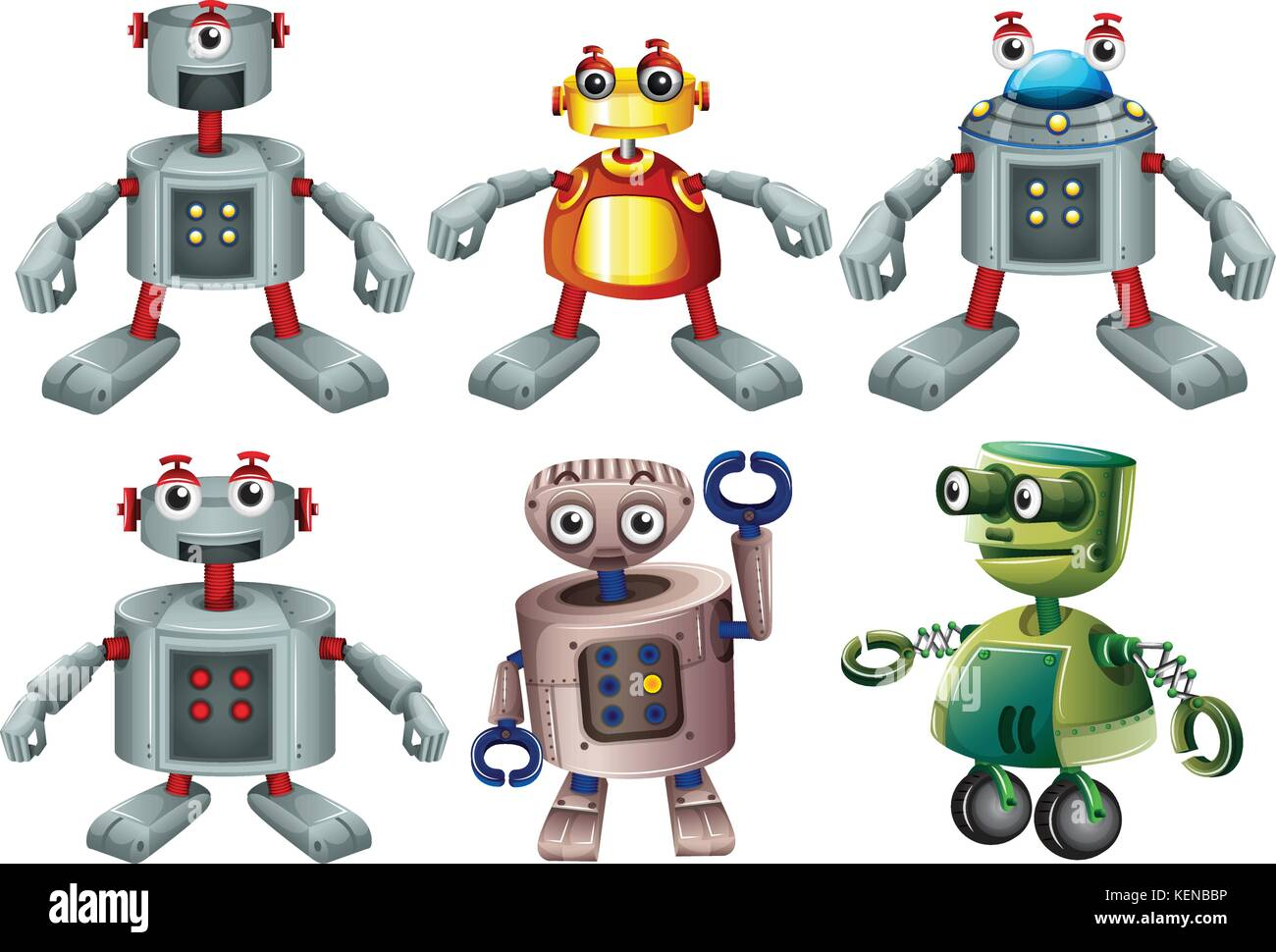 Illustration of the six robots on a white background Stock Vector