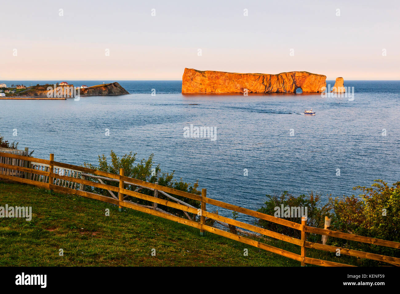 Perce Rock view from  Gaspe Peninsula at sunset  in Quebec, Canada - Stock Image