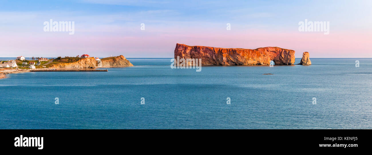 Perce Rock panoramic view from  Gaspe Peninsula at sunset  in Quebec, Canada - Stock Image