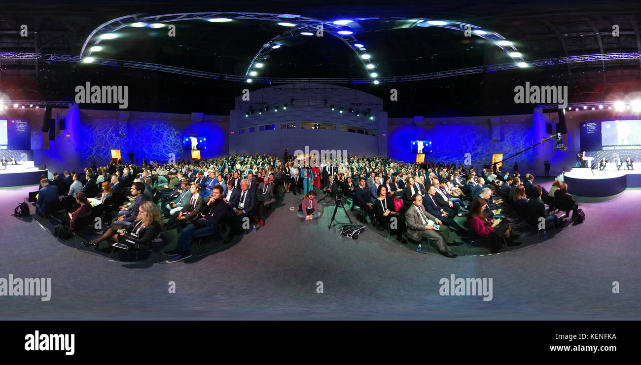 People attend Open Innovations 2017 forum - Stock Image