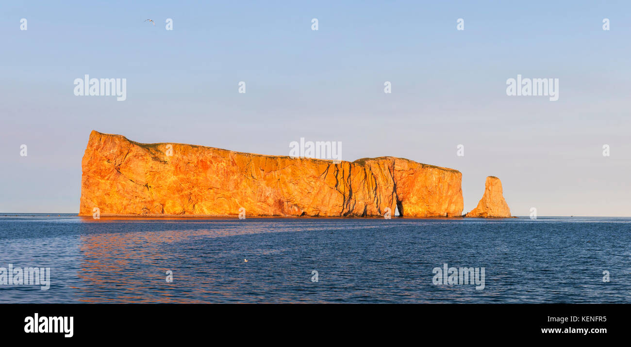 Perce Rock or Rocher Percé view from Gaspe Peninsula at sunset  in Quebec, Canada. - Stock Image