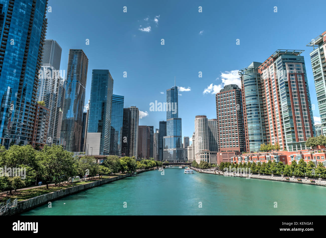 View of downtown Chicago, Illinois, USA, from DuSable Bridge facing the Trump International Hotel and Tower - Stock Image
