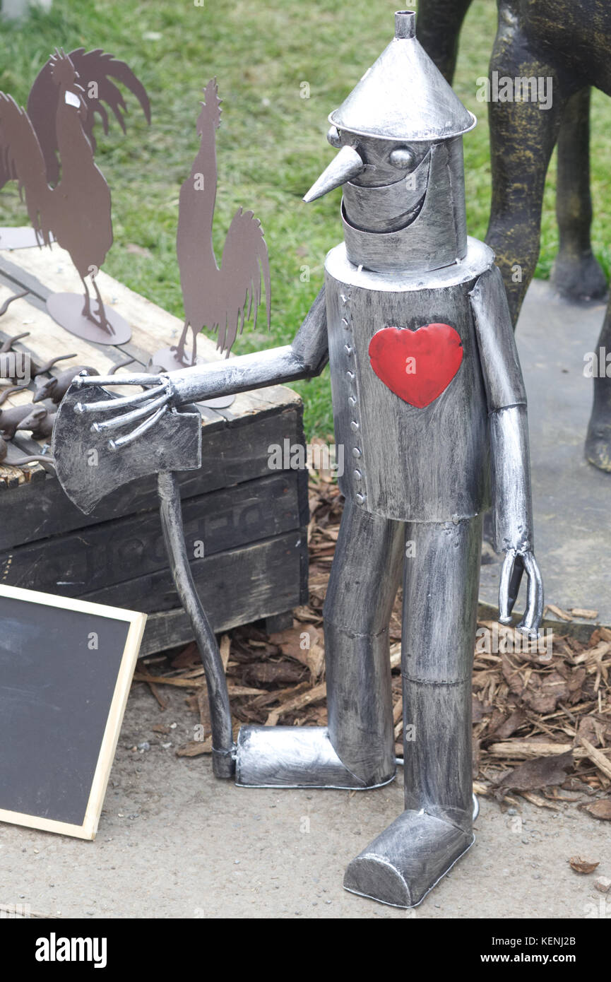 The tin man with a red heart - Stock Image