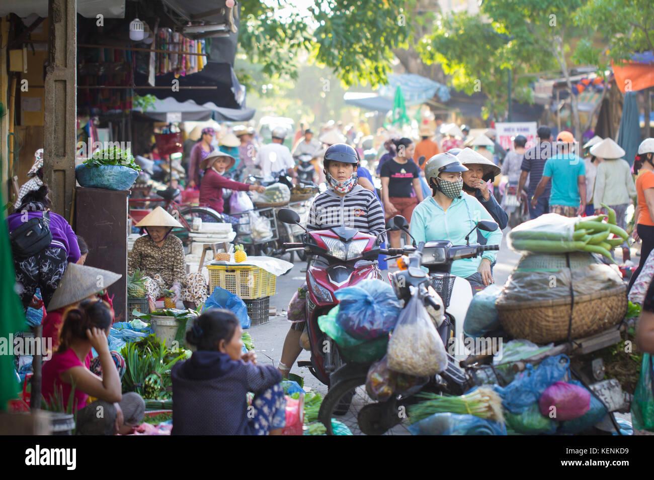 Saigon, Vietnam - June 2017: busy morning street vegetable market, Saigon, Vietnam. - Stock Image