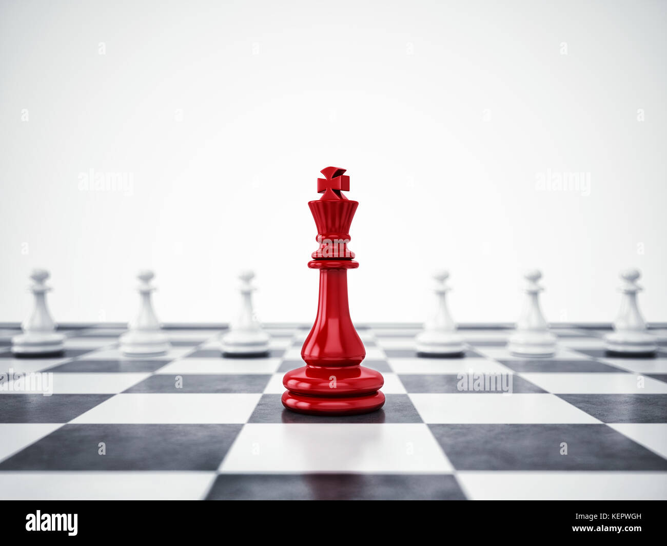 Red pawn ahead of white pawns. 3D Rendering - Stock Image