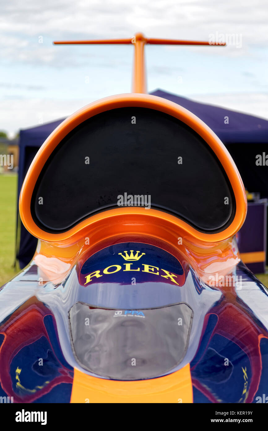 The Bloodhound SSC British supersonic land vehicle at the RNAS Yeovilton International Air Day 2017 - Stock Image