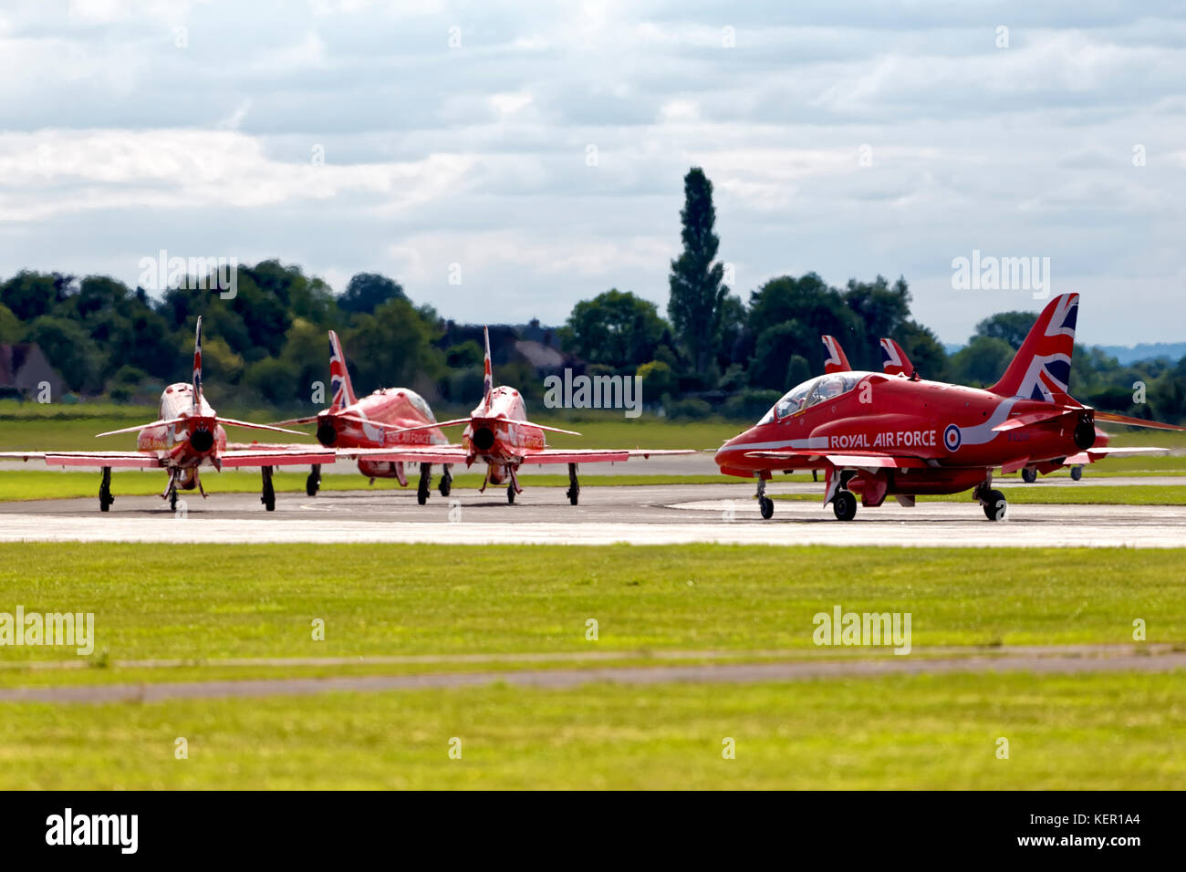 The Royal Air Force Aerobatic Team The Red Arrows at the Royal Naval Air Station Yeovilton, International Air Day - Stock Image
