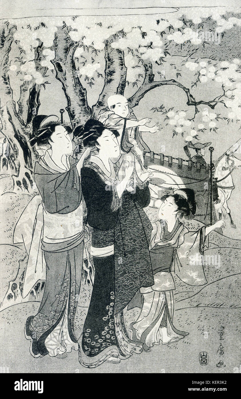 The caption for this image reads—Toyohiro: Left-hand sheet of a triptych. Two ladies and children watching archers - Stock Image