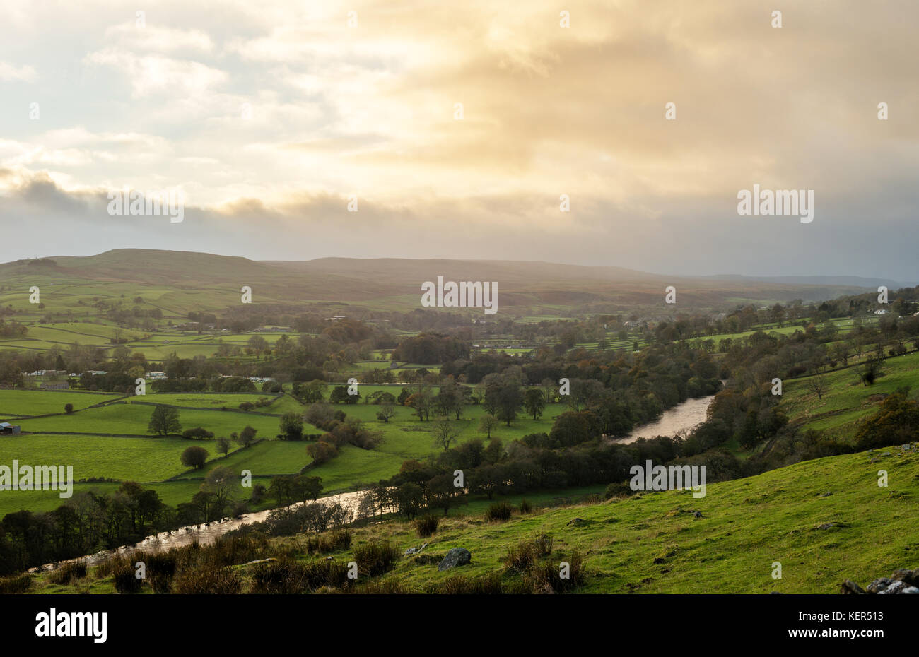 The River Tees passing through Upper Teesdale, North East England - Stock Image