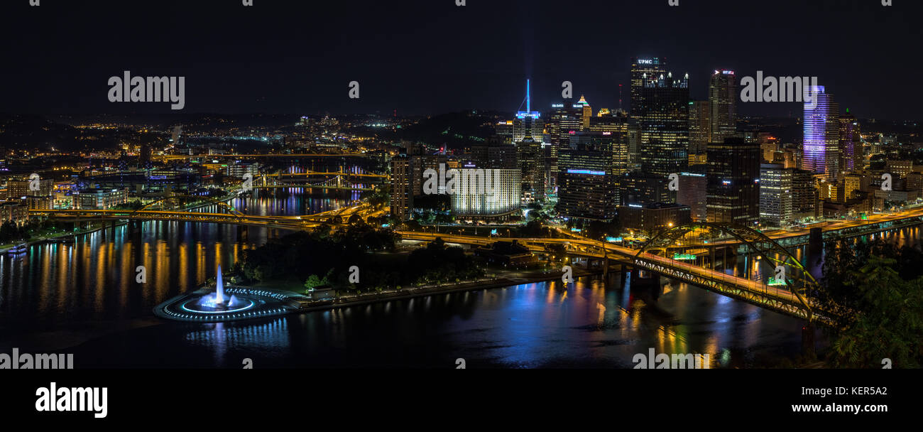 The Pittsburgh skyline taken at night from the top of the Duquesne Incline in the Mount Washington district of the - Stock Image