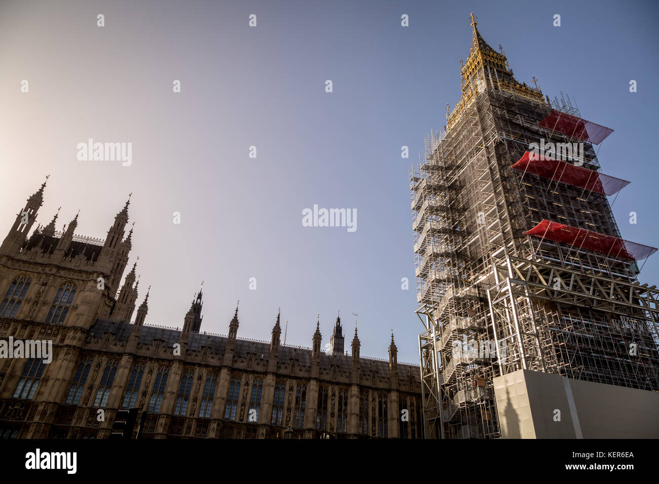Big Ben and Westminster's Parliament buildings seen with scaffolding ready  for the renovation program which could Stock Photo
