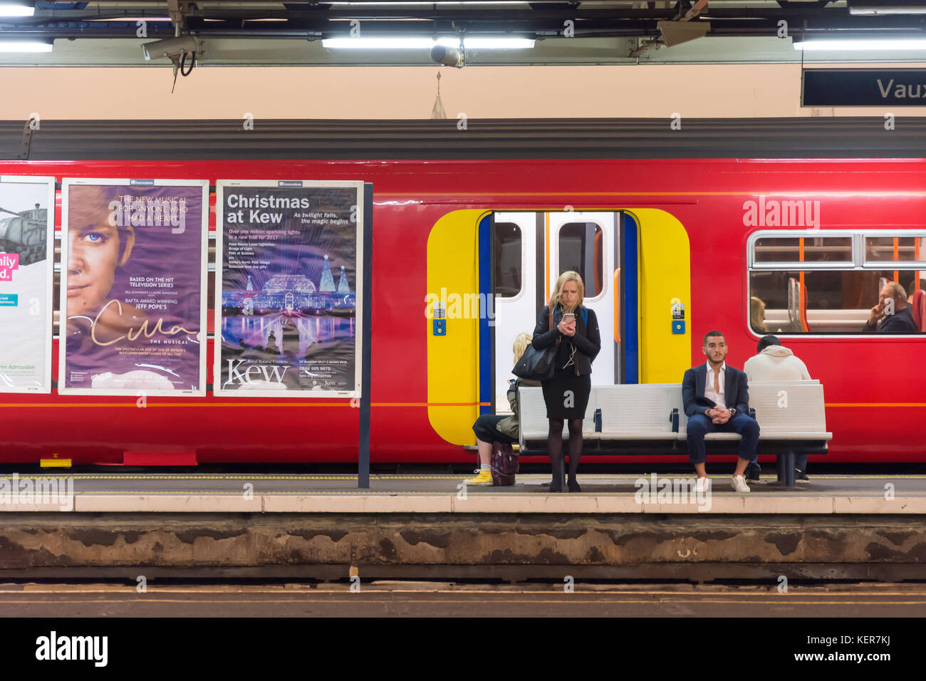 South Western Railway train on platform at Vauxhall Railway Station, Vauxhall, London Borough of Lambeth, Greater - Stock Image