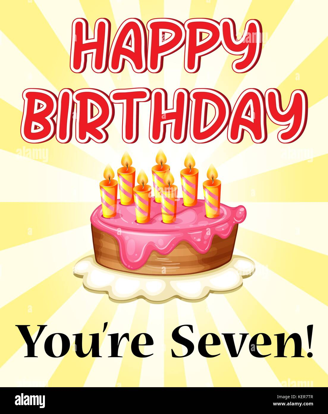 Illustration Of A Birthday Card With Cake And Seven Candles Stock