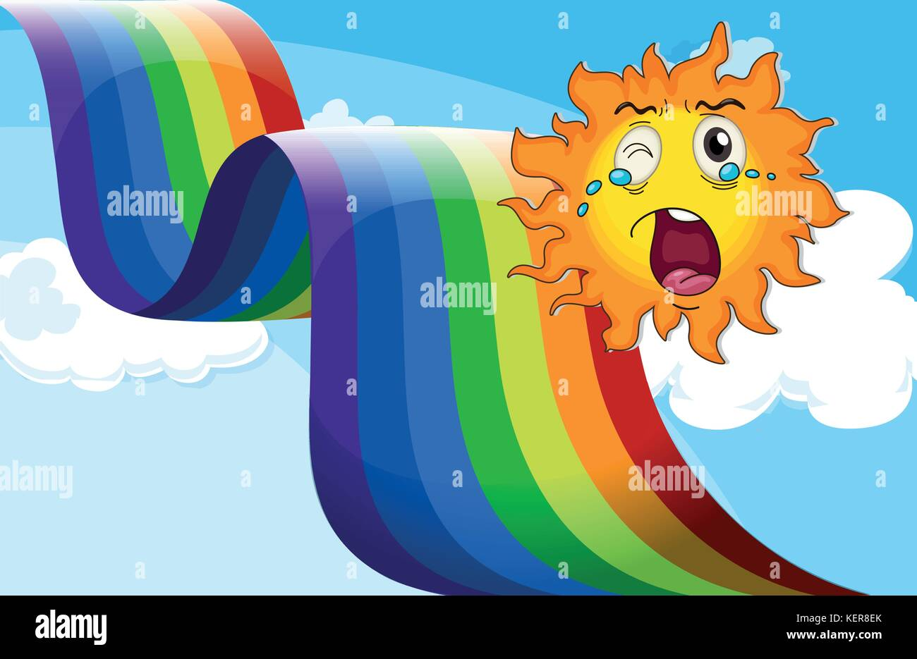 Illustration of a crying sun near the rainbow - Stock Vector