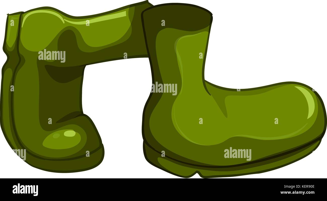Illustration of a pair of green shoes on a white background - Stock Vector