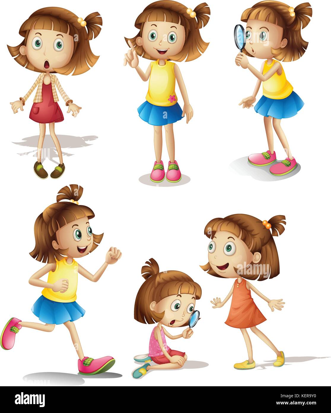 Illustration of girls with different actions Stock Vector