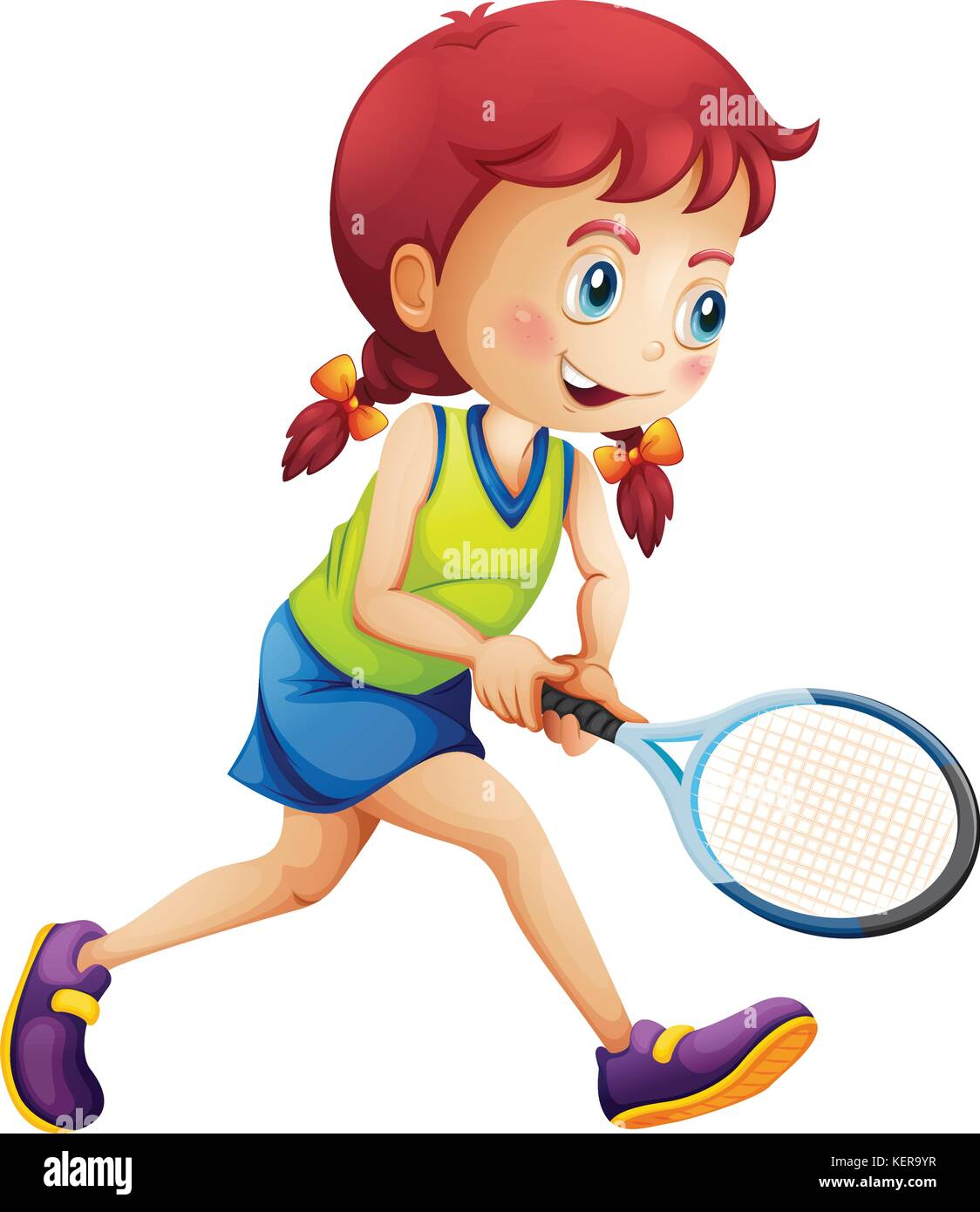 Illustration Of A Young Lady Playing Tennis On A White Background Stock Vector Image Art Alamy