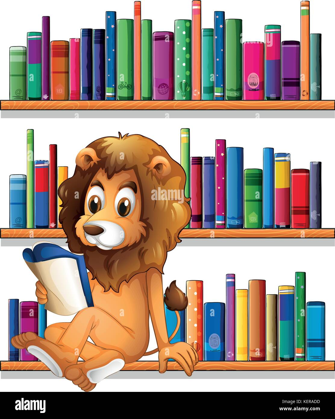 Illustration Of A Lion Reading Book While Sitting On Bookshelf White Background