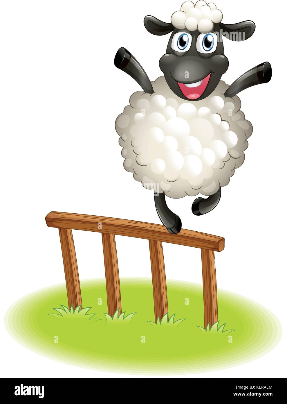 Illustration of a sheep standing above the wooden fence on a white background - Stock Vector