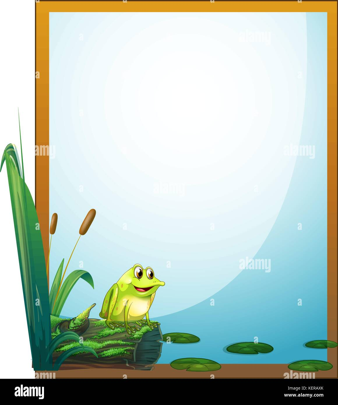 Illustration of a frame with a frog in the pond on a white ...