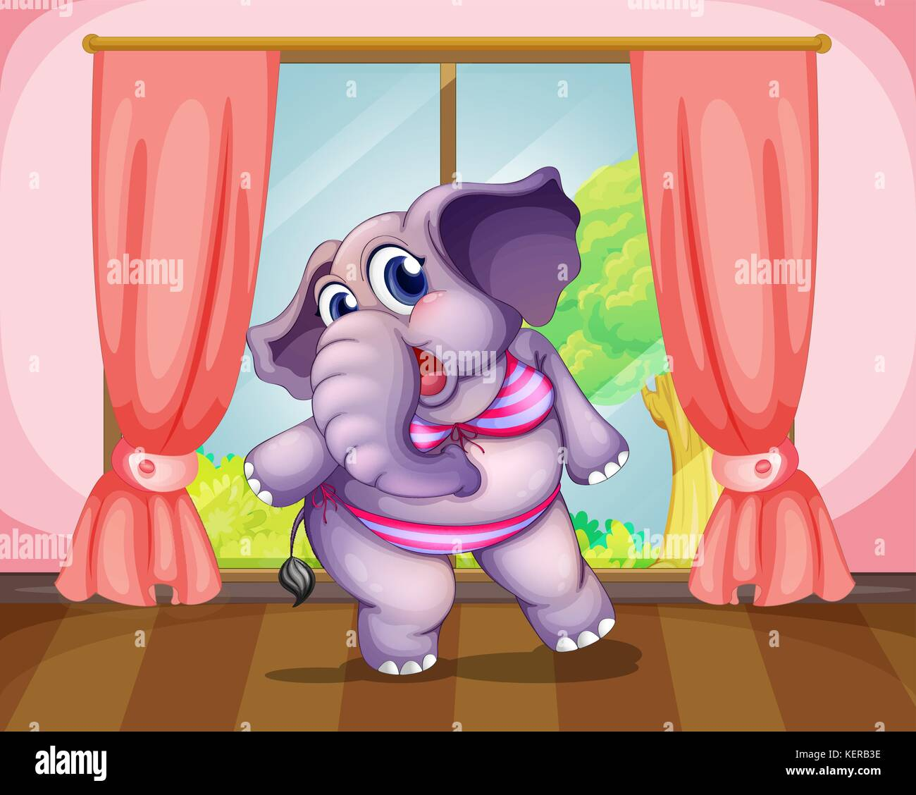 Illustration of an elephant wearing a swimwear - Stock Vector