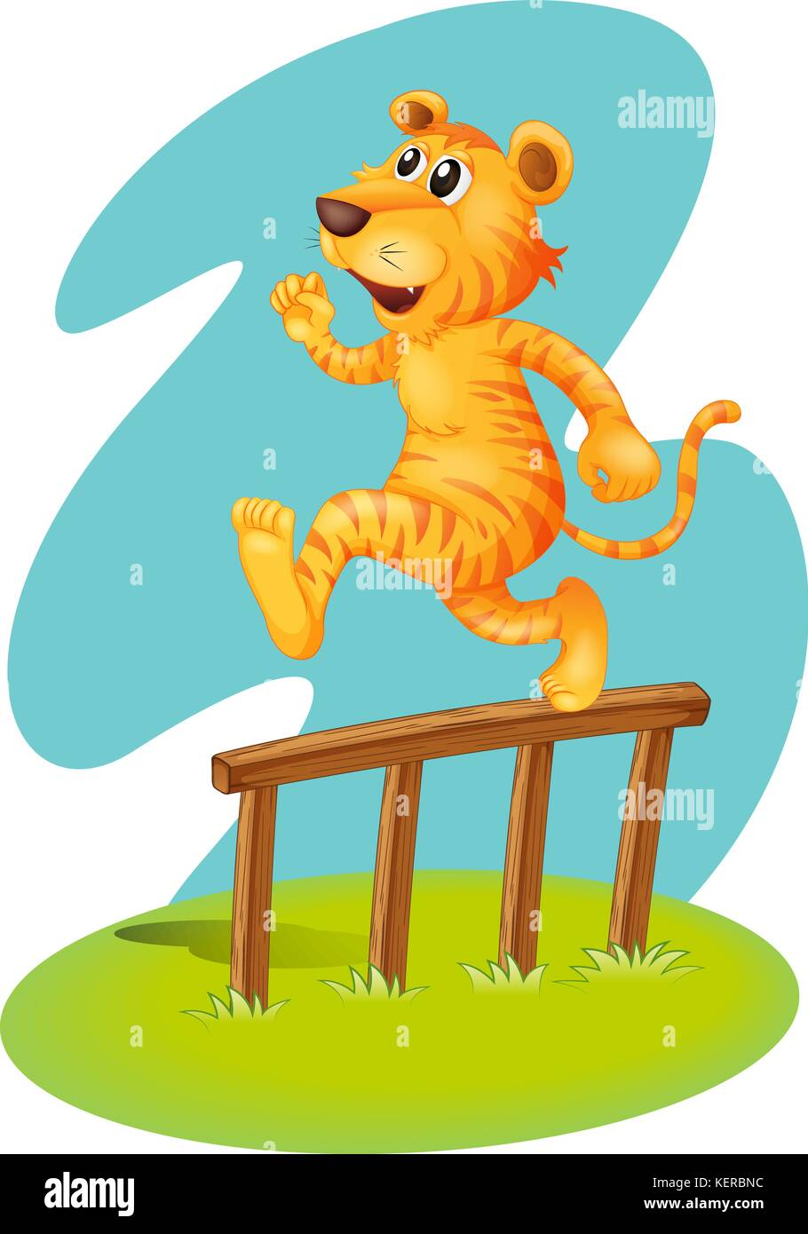 Illustration of a brave tiger jumping over the wooden fence on a white background - Stock Vector