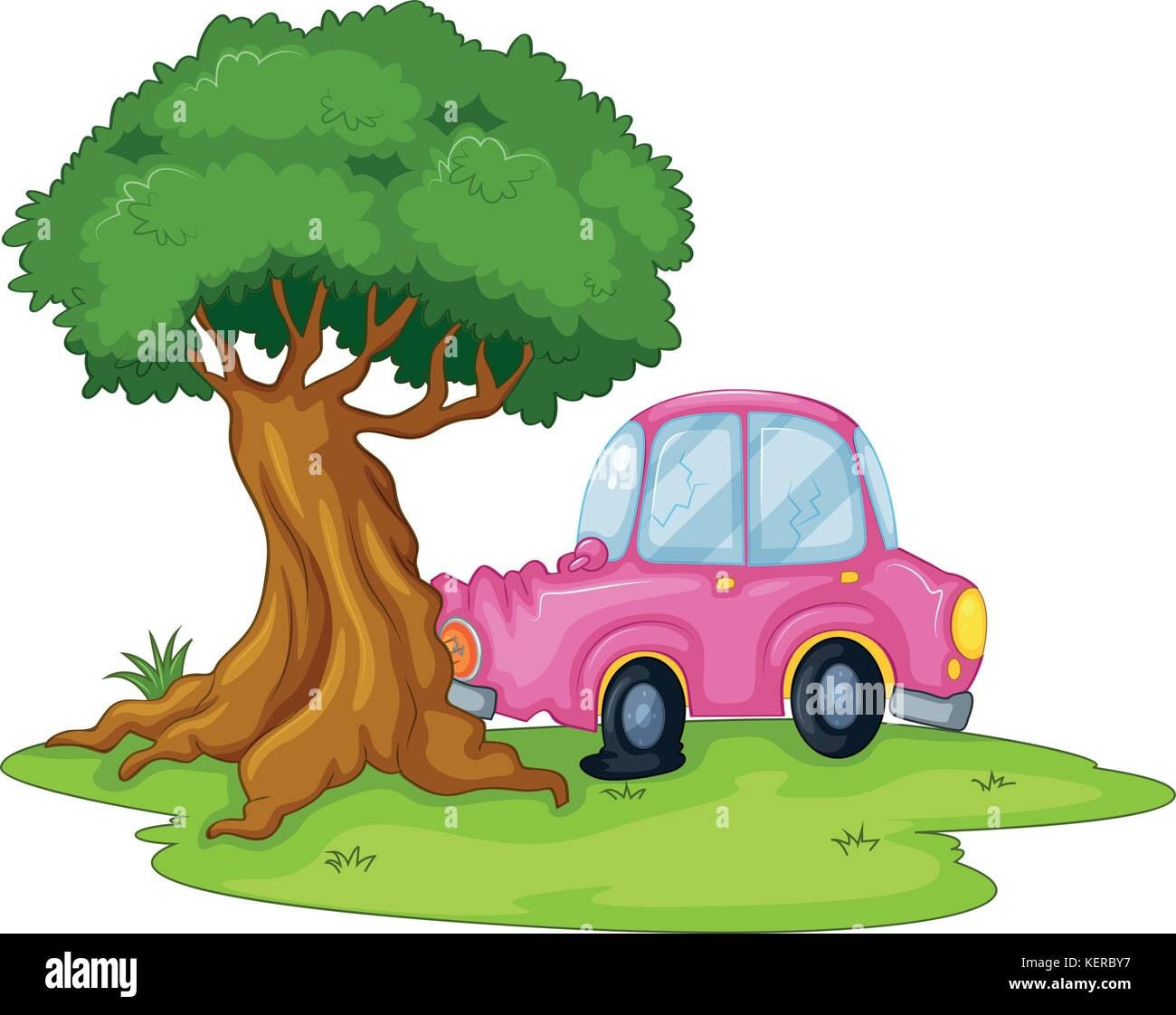 Illustration of a pink car bumping the giant tree on a white background - Stock Vector