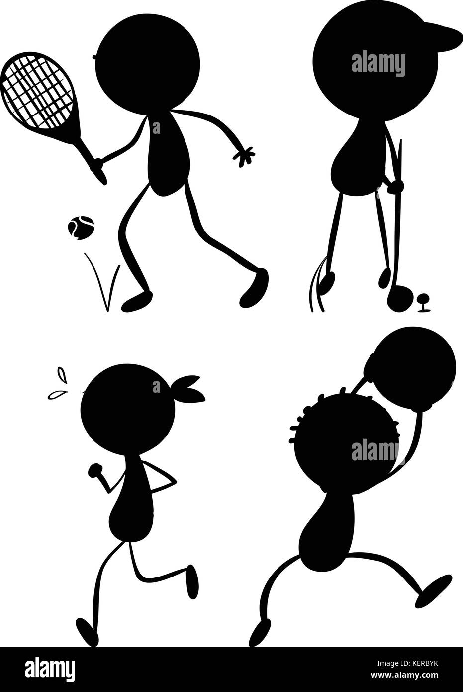 Illustration of the sport silhouettes on a white background - Stock Image