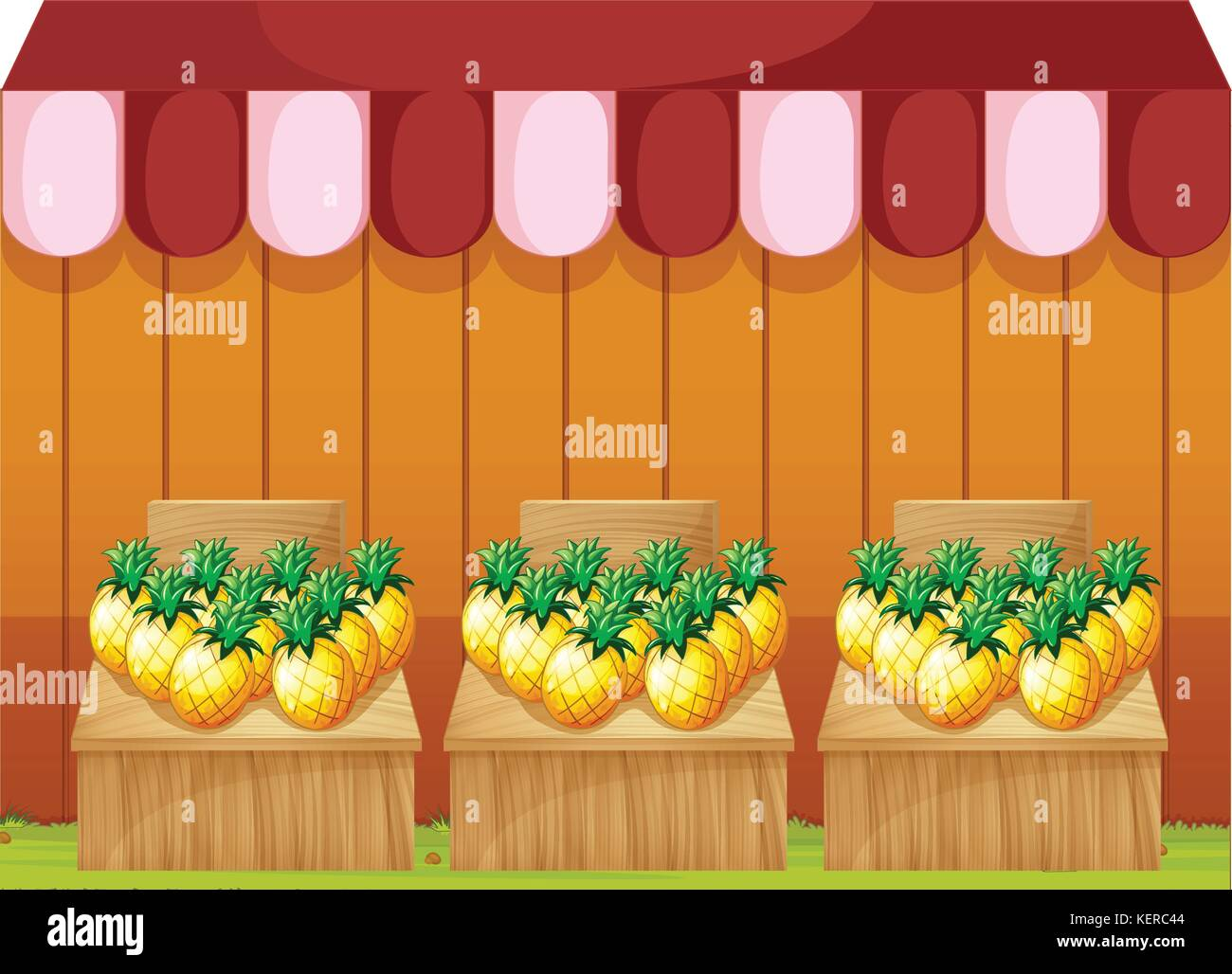 Illustration of a fruitstand selling pineapples with empty signboards on a white background Stock Vector