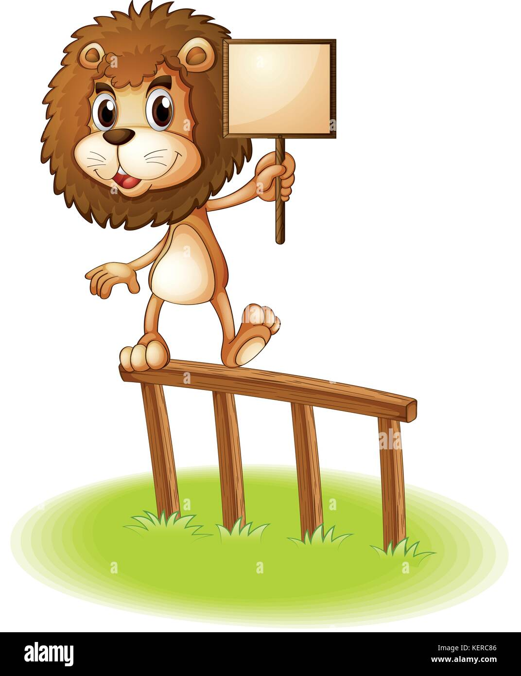 Illustration of a lion standing on a wooden fence holding an empty signboard on a white background - Stock Vector