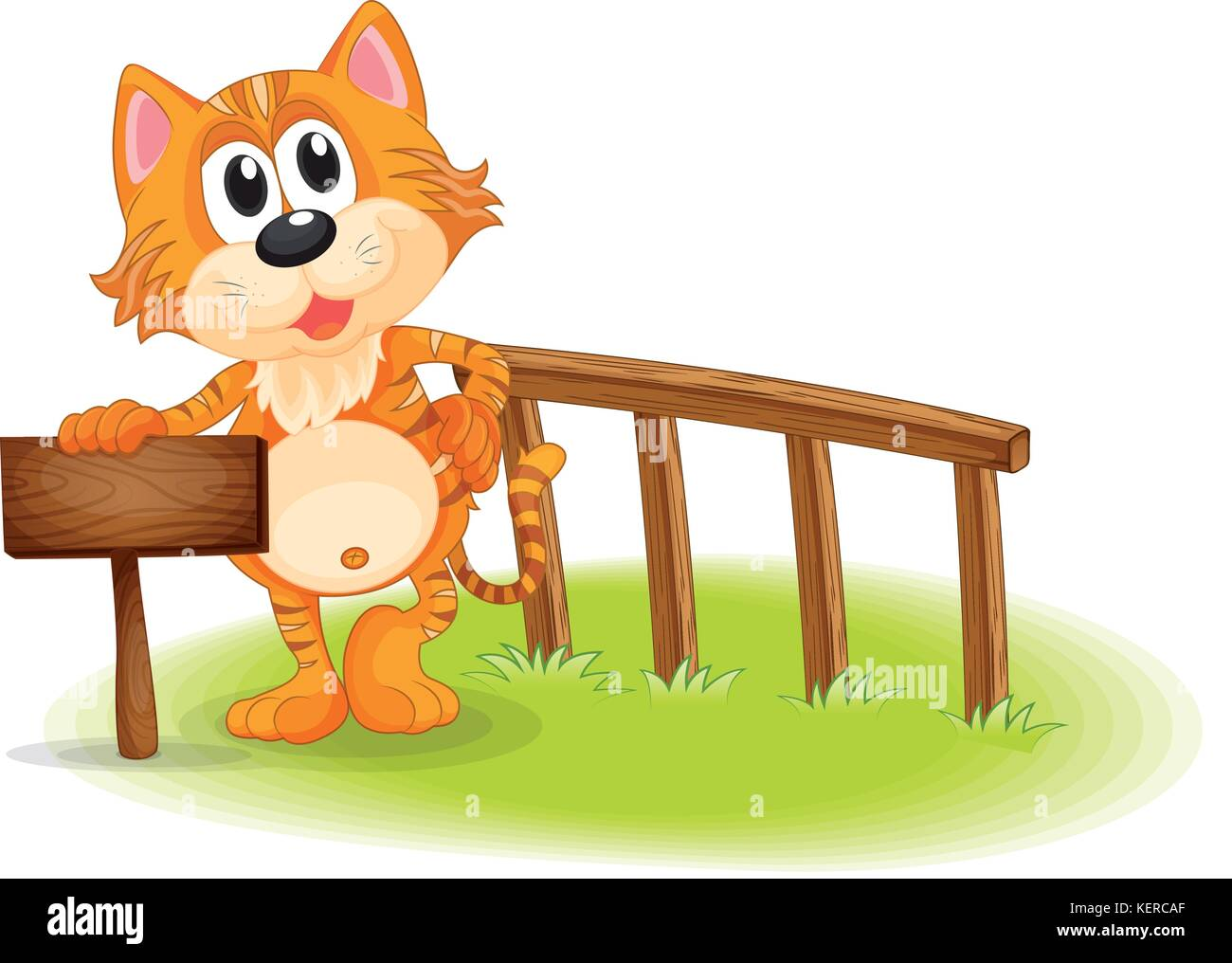 Illustration of a young tiger near the empty wooden signboard on a white background - Stock Vector