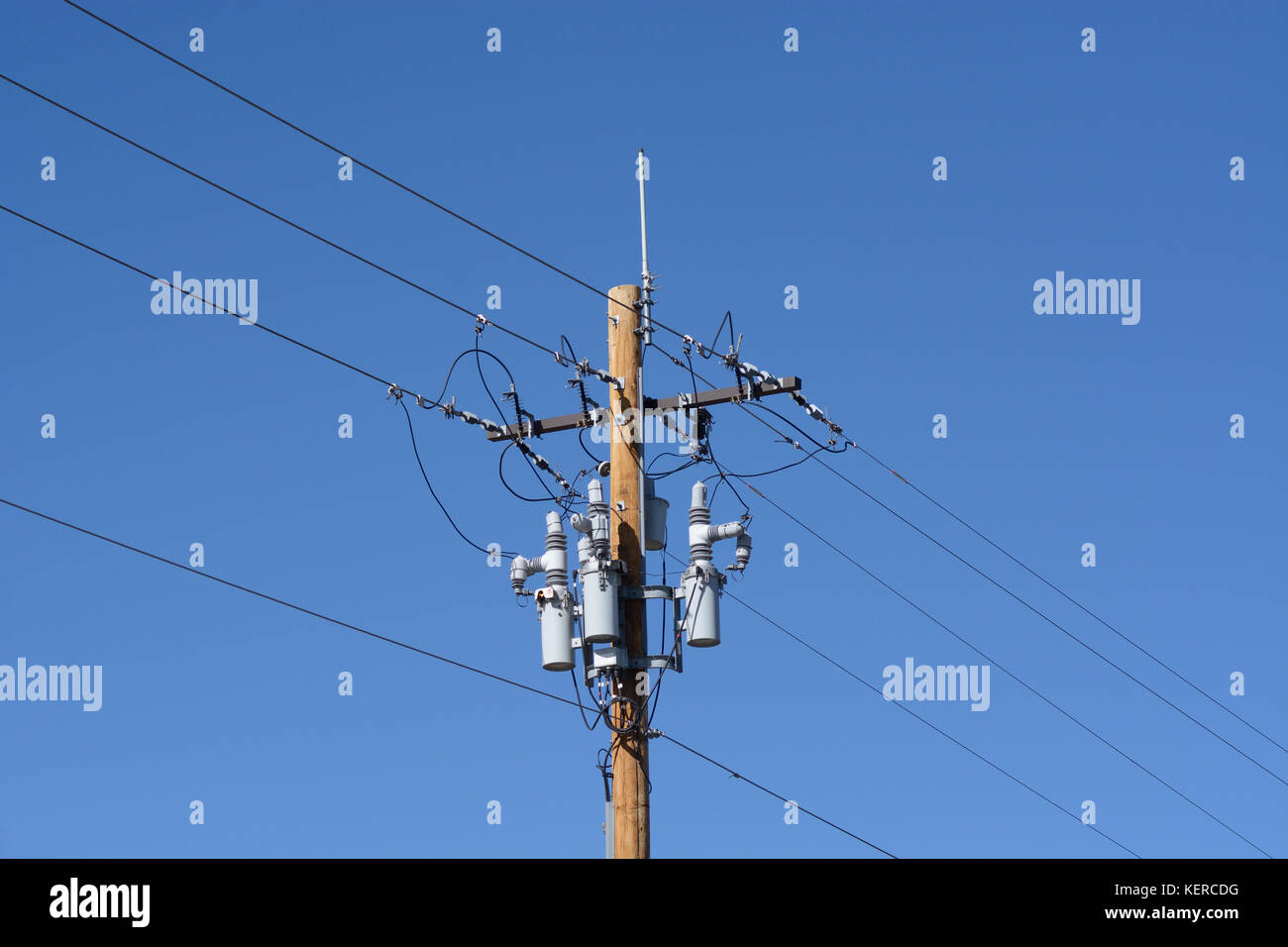 Electric power lines with power circuit breakers and antenna on new wooden pole - Stock Image