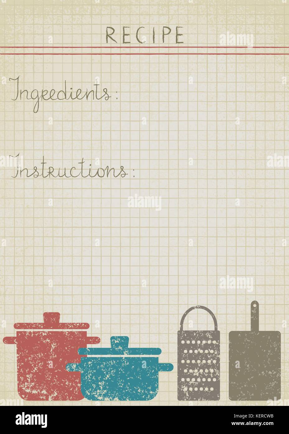 Old paper background for cooking recipes Stock Vector Art