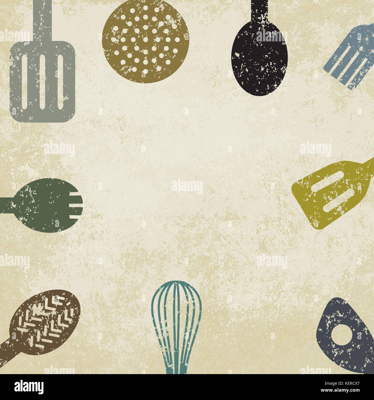 Kitchen utensils on old paper background. - Stock Vector