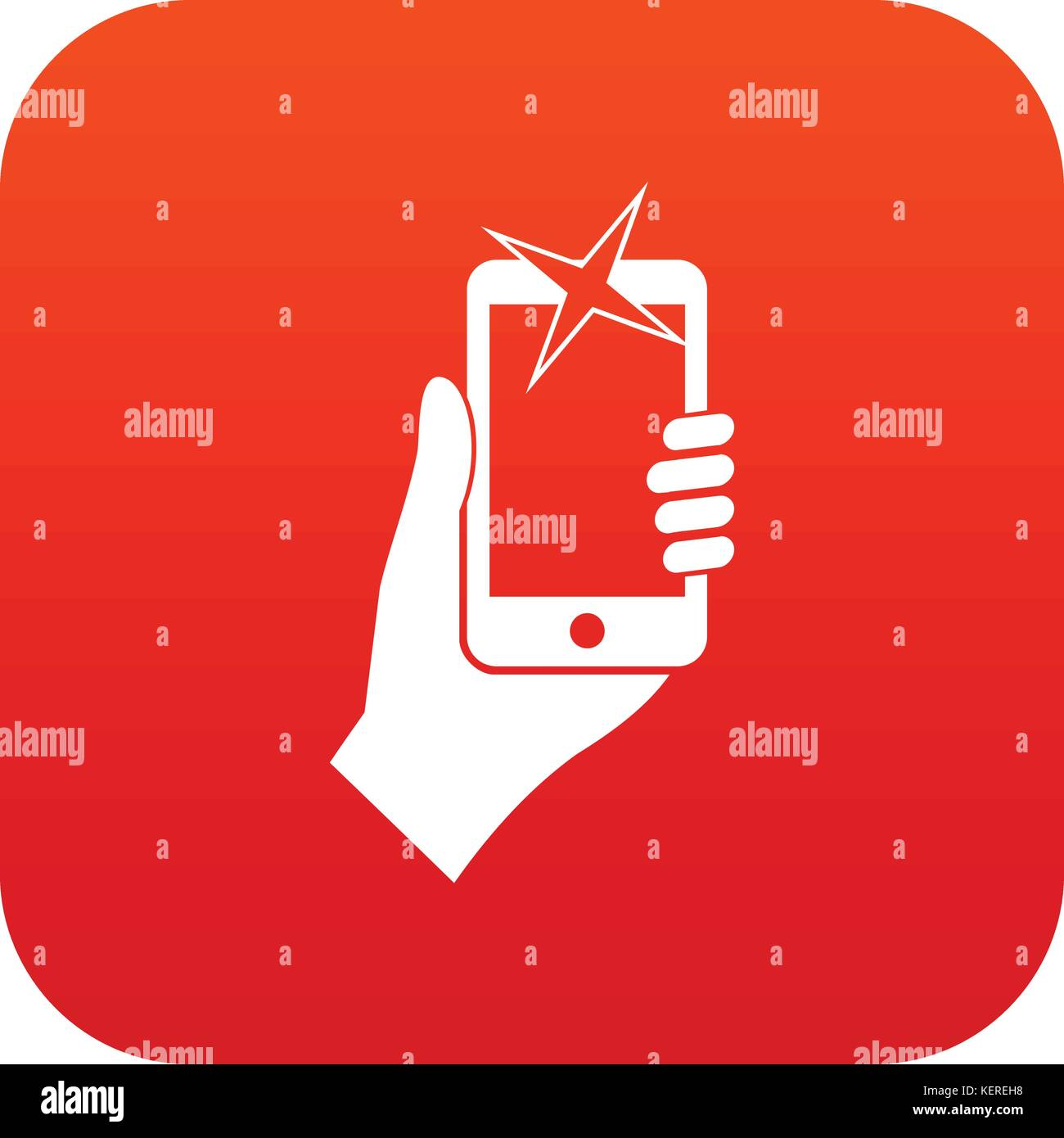 Hand photographed on mobile phone icon digital red - Stock Vector