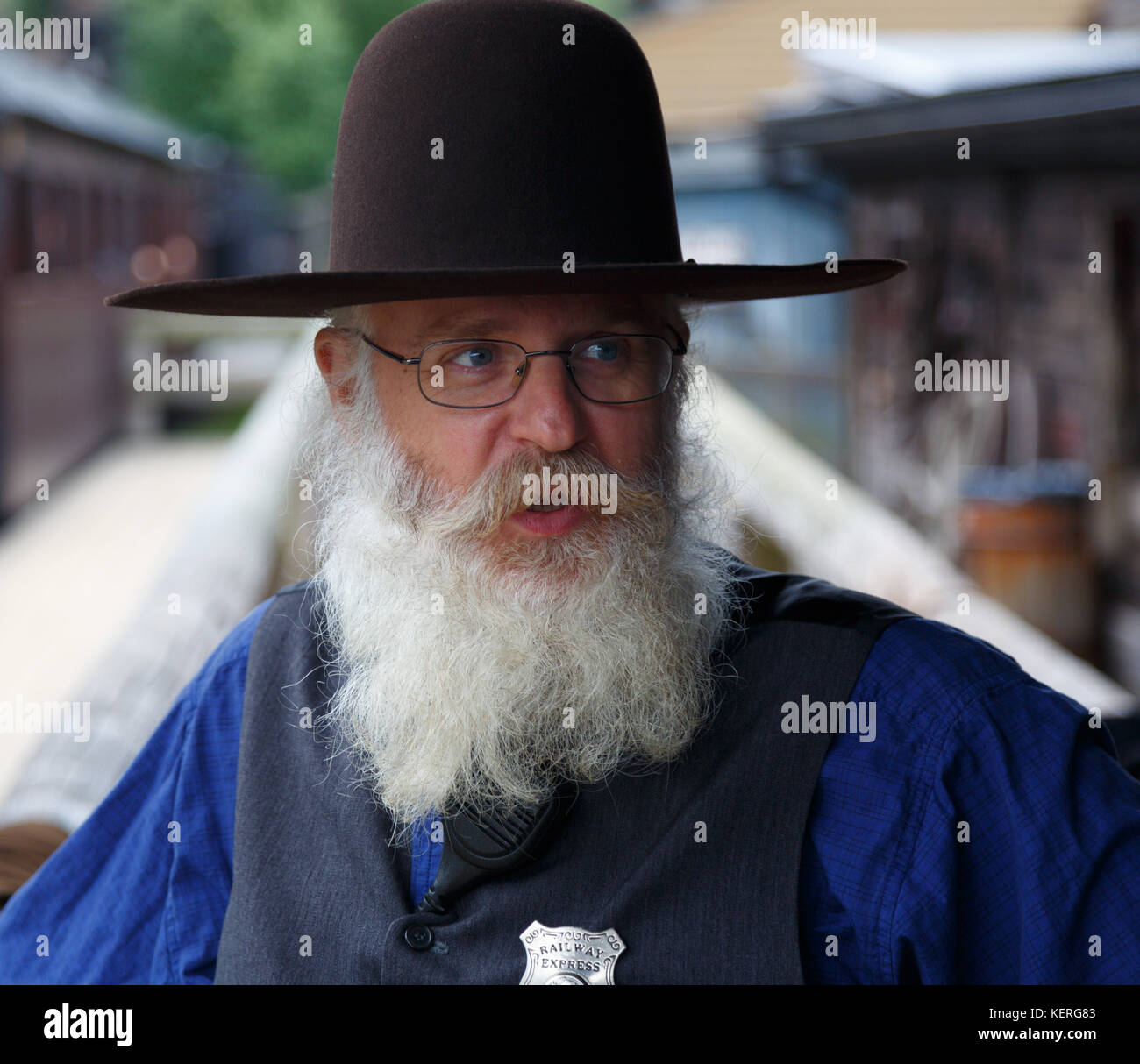 Sheriff at High Chaparral Sweden speaking and looking forward, favorite place for Wild West enthusiasts - Stock Image