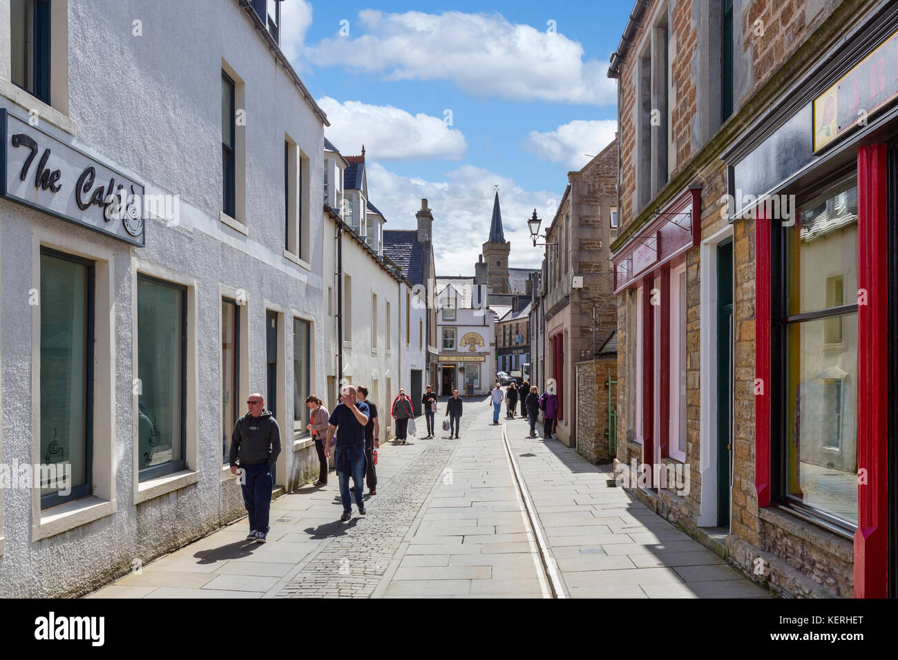 Shops on Victoria Street in the town centre, Stromness, Mainland, Orkney, Scotland, UK - Stock Image